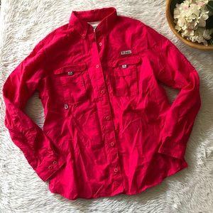 Columbia Pink Button Down Hiking Shirt